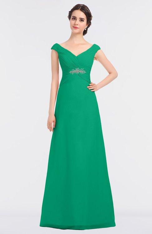 ColsBM Nadia Pepper Green Elegant A-line Short Sleeve Zip up Floor Length Beaded Bridesmaid Dresses