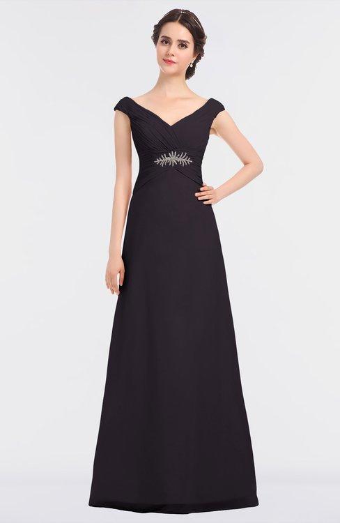 ColsBM Nadia Perfect Plum Elegant A-line Short Sleeve Zip up Floor Length Beaded Bridesmaid Dresses