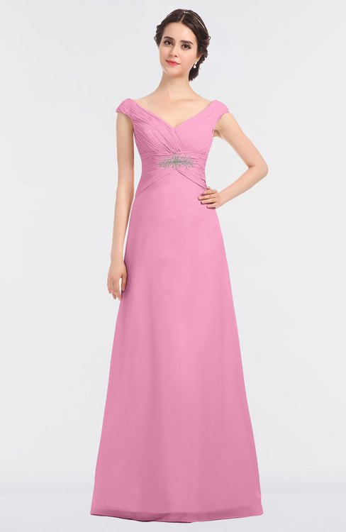 ColsBM Nadia Pink Elegant A-line Short Sleeve Zip up Floor Length Beaded Bridesmaid Dresses