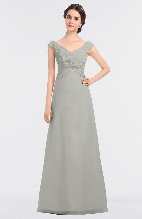 ColsBM Nadia Platinum Elegant A-line Short Sleeve Zip up Floor Length Beaded Bridesmaid Dresses