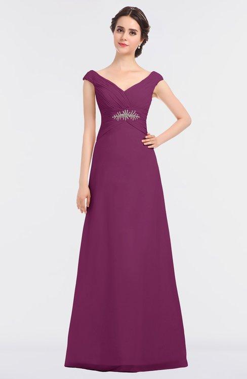 ColsBM Nadia Raspberry Elegant A-line Short Sleeve Zip up Floor Length Beaded Bridesmaid Dresses