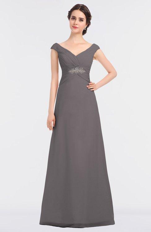 ColsBM Nadia Ridge Grey Elegant A-line Short Sleeve Zip up Floor Length Beaded Bridesmaid Dresses
