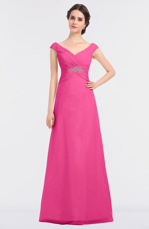 ColsBM Nadia Rose Pink Elegant A-line Short Sleeve Zip up Floor Length Beaded Bridesmaid Dresses