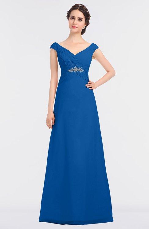 ColsBM Nadia Royal Blue Elegant A-line Short Sleeve Zip up Floor Length Beaded Bridesmaid Dresses