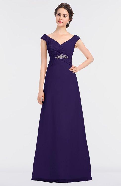 ColsBM Nadia Royal Purple Elegant A-line Short Sleeve Zip up Floor Length Beaded Bridesmaid Dresses