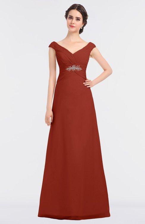 ColsBM Nadia Rust Elegant A-line Short Sleeve Zip up Floor Length Beaded Bridesmaid Dresses
