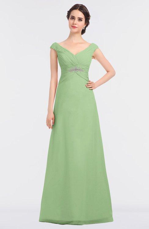 ColsBM Nadia Sage Green Elegant A-line Short Sleeve Zip up Floor Length Beaded Bridesmaid Dresses