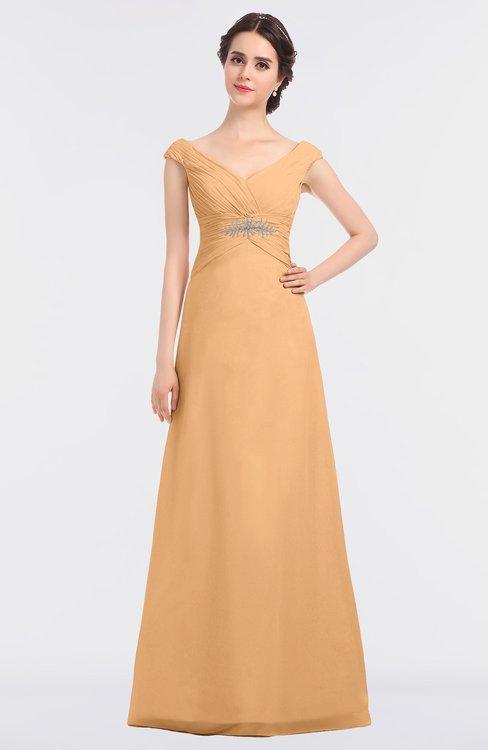 ColsBM Nadia Salmon Buff Elegant A-line Short Sleeve Zip up Floor Length Beaded Bridesmaid Dresses