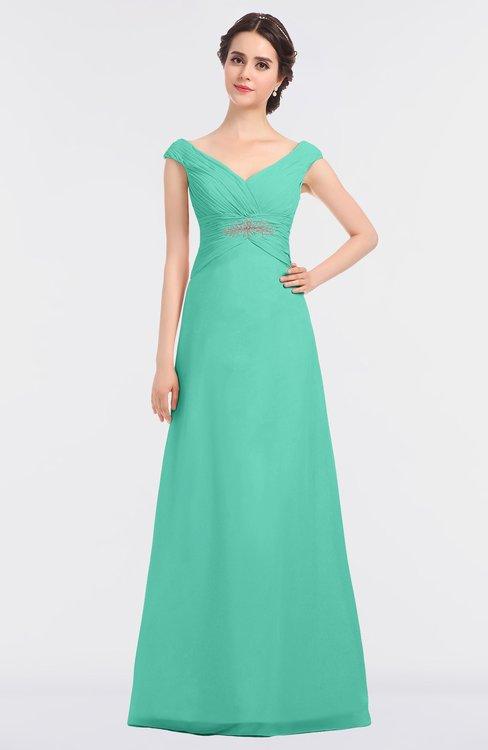 ColsBM Nadia Seafoam Green Elegant A-line Short Sleeve Zip up Floor Length Beaded Bridesmaid Dresses