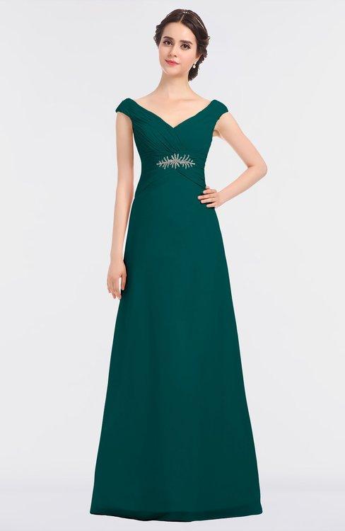 ColsBM Nadia Shaded Spruce Elegant A-line Short Sleeve Zip up Floor Length Beaded Bridesmaid Dresses