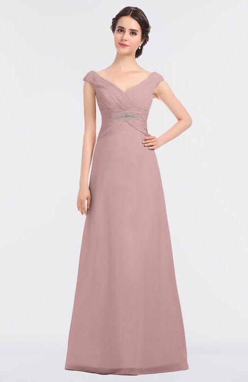 ColsBM Nadia Silver Pink Elegant A-line Short Sleeve Zip up Floor Length Beaded Bridesmaid Dresses