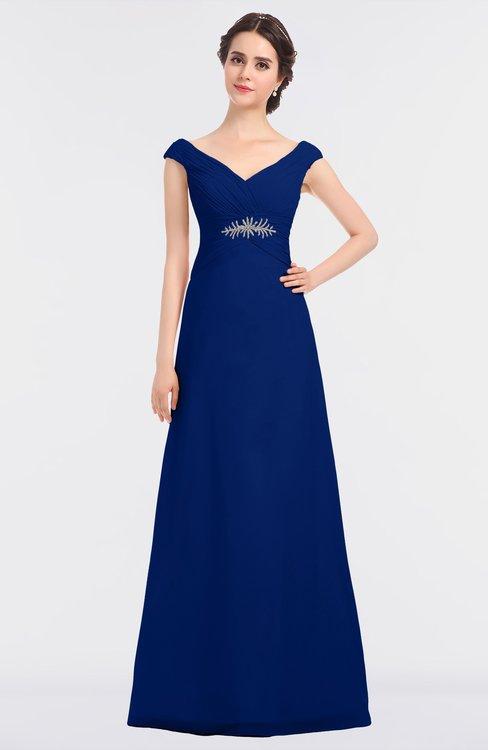 ColsBM Nadia Sodalite Blue Elegant A-line Short Sleeve Zip up Floor Length Beaded Bridesmaid Dresses