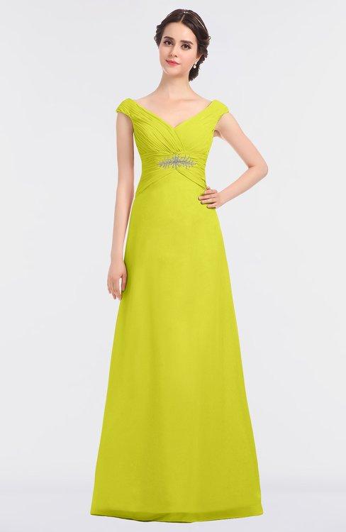 ColsBM Nadia Sulphur Spring Elegant A-line Short Sleeve Zip up Floor Length Beaded Bridesmaid Dresses