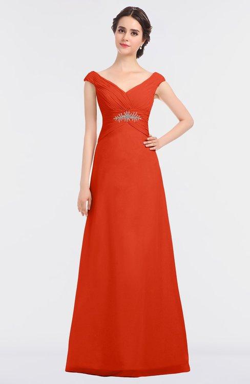 ColsBM Nadia Tangerine Tango Elegant A-line Short Sleeve Zip up Floor Length Beaded Bridesmaid Dresses