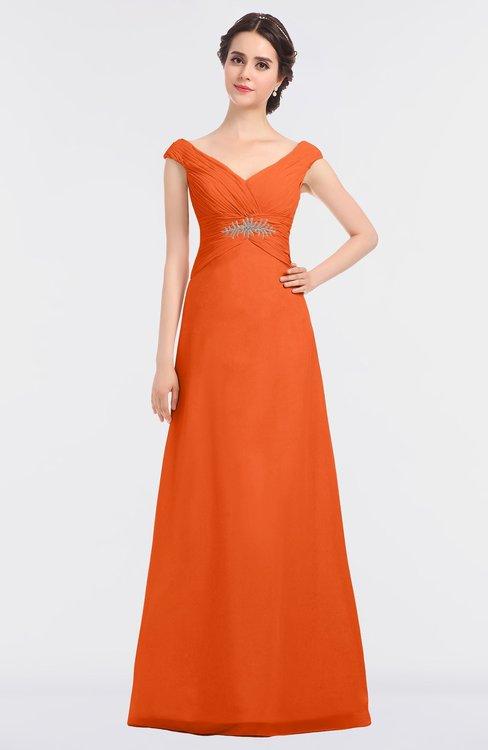 ColsBM Nadia Tangerine Elegant A-line Short Sleeve Zip up Floor Length Beaded Bridesmaid Dresses