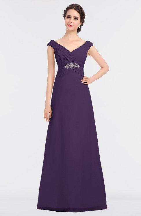 ColsBM Nadia Violet Elegant A-line Short Sleeve Zip up Floor Length Beaded Bridesmaid Dresses