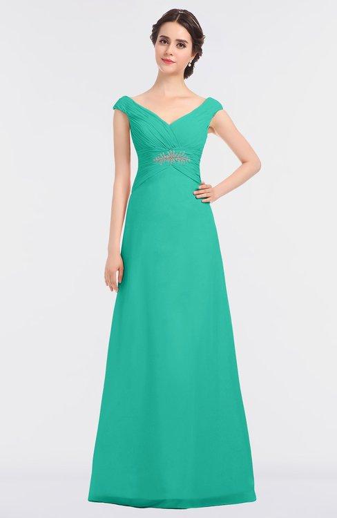 ColsBM Nadia Viridian Green Elegant A-line Short Sleeve Zip up Floor Length Beaded Bridesmaid Dresses