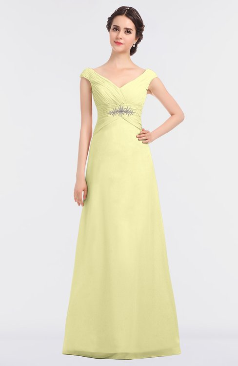 ColsBM Nadia Wax Yellow Elegant A-line Short Sleeve Zip up Floor Length Beaded Bridesmaid Dresses