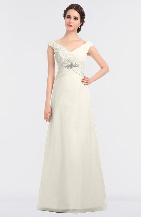 ColsBM Nadia Whisper White Elegant A-line Short Sleeve Zip up Floor Length Beaded Bridesmaid Dresses