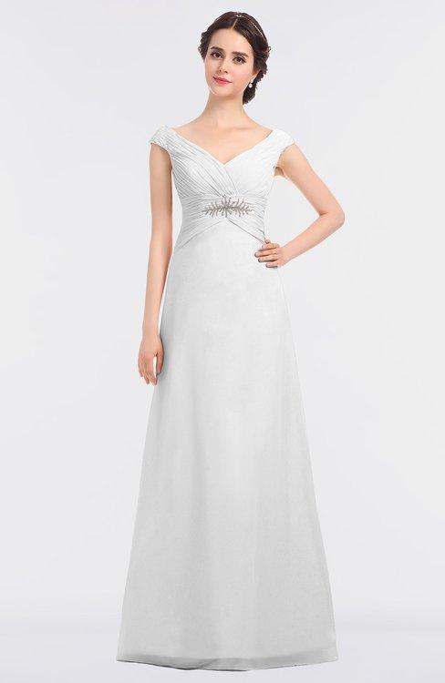 ColsBM Nadia White Elegant A-line Short Sleeve Zip up Floor Length Beaded Bridesmaid Dresses