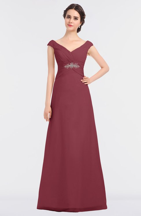 ColsBM Nadia Wine Elegant A-line Short Sleeve Zip up Floor Length Beaded Bridesmaid Dresses