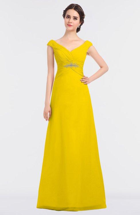 ColsBM Nadia Yellow Elegant A-line Short Sleeve Zip up Floor Length Beaded Bridesmaid Dresses