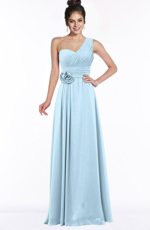 Colsbm Tegan Ice Blue Modern Sleeveless Zip Up Chiffon Floor Length Flower Bridesmaid Dresses