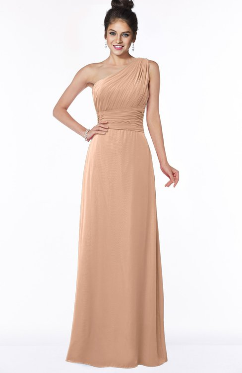 ColsBM Adalyn Almost Apricot Mature Sheath Sleeveless Half Backless Chiffon Ruching Bridesmaid Dresses