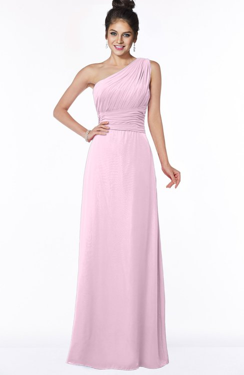 ColsBM Adalyn Baby Pink Mature Sheath Sleeveless Half Backless Chiffon Ruching Bridesmaid Dresses