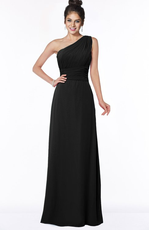 ColsBM Adalyn Black Mature Sheath Sleeveless Half Backless Chiffon Ruching Bridesmaid Dresses
