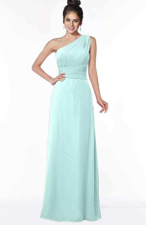 ColsBM Adalyn Blue Glass Mature Sheath Sleeveless Half Backless Chiffon Ruching Bridesmaid Dresses