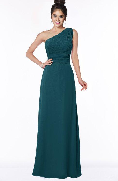 ColsBM Adalyn Blue Green Mature Sheath Sleeveless Half Backless Chiffon Ruching Bridesmaid Dresses