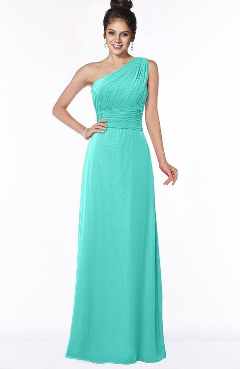 ColsBM Adalyn Blue Turquoise Mature Sheath Sleeveless Half Backless Chiffon Ruching Bridesmaid Dresses