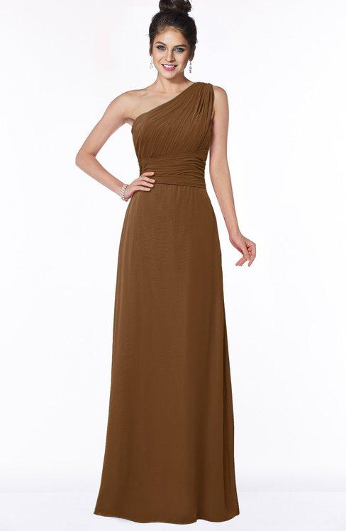 ColsBM Adalyn Brown Mature Sheath Sleeveless Half Backless Chiffon Ruching Bridesmaid Dresses