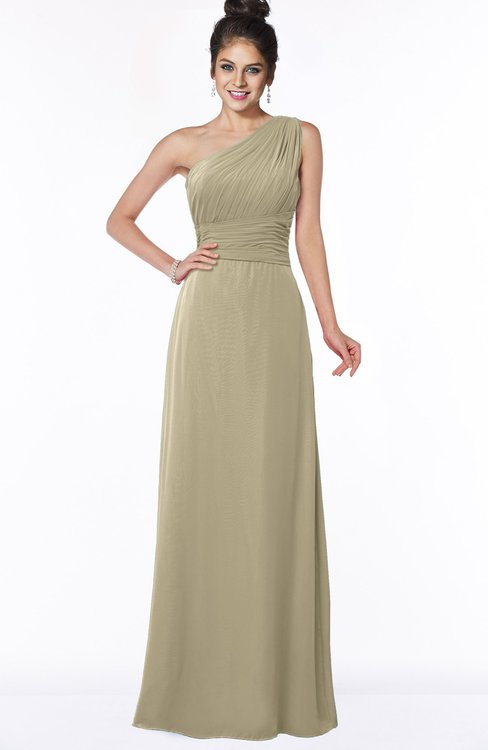 ColsBM Adalyn Candied Ginger Mature Sheath Sleeveless Half Backless Chiffon Ruching Bridesmaid Dresses