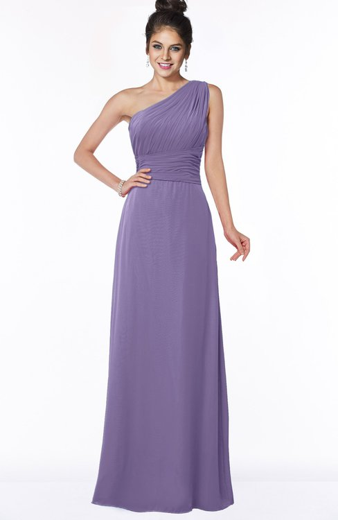 ColsBM Adalyn Chalk Violet Mature Sheath Sleeveless Half Backless Chiffon Ruching Bridesmaid Dresses
