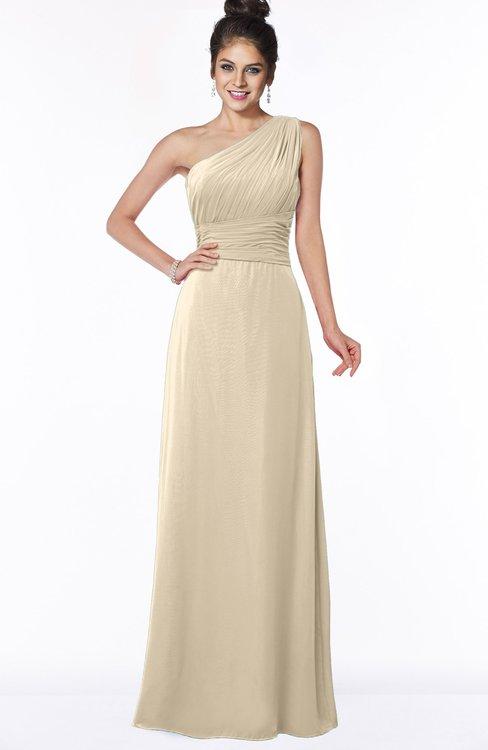 ColsBM Adalyn Champagne Mature Sheath Sleeveless Half Backless Chiffon Ruching Bridesmaid Dresses