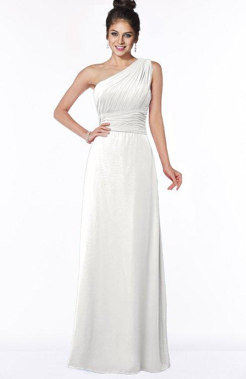 ColsBM Adalyn Cloud White Mature Sheath Sleeveless Half Backless Chiffon Ruching Bridesmaid Dresses