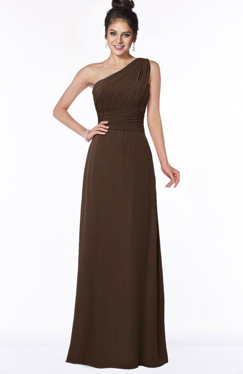 ColsBM Adalyn Copper Mature Sheath Sleeveless Half Backless Chiffon Ruching Bridesmaid Dresses