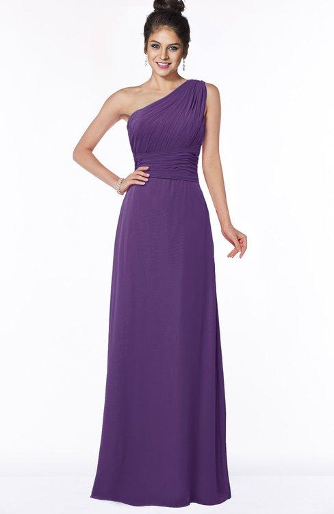 ColsBM Adalyn Dark Purple Mature Sheath Sleeveless Half Backless Chiffon Ruching Bridesmaid Dresses
