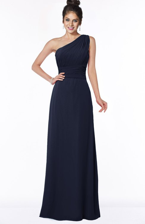 ColsBM Adalyn Dark Sapphire Mature Sheath Sleeveless Half Backless Chiffon Ruching Bridesmaid Dresses