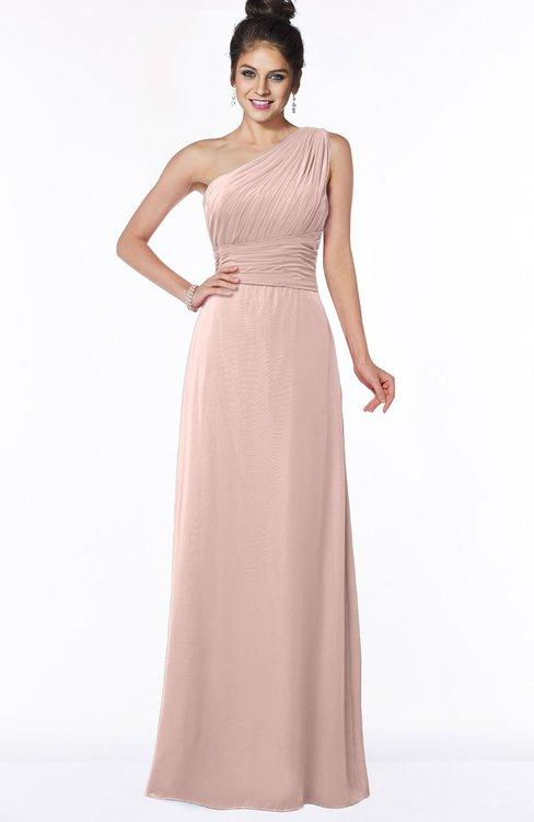 ColsBM Adalyn Dusty Rose Mature Sheath Sleeveless Half Backless Chiffon Ruching Bridesmaid Dresses