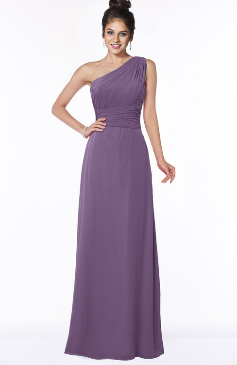 ColsBM Adalyn Eggplant Mature Sheath Sleeveless Half Backless Chiffon Ruching Bridesmaid Dresses