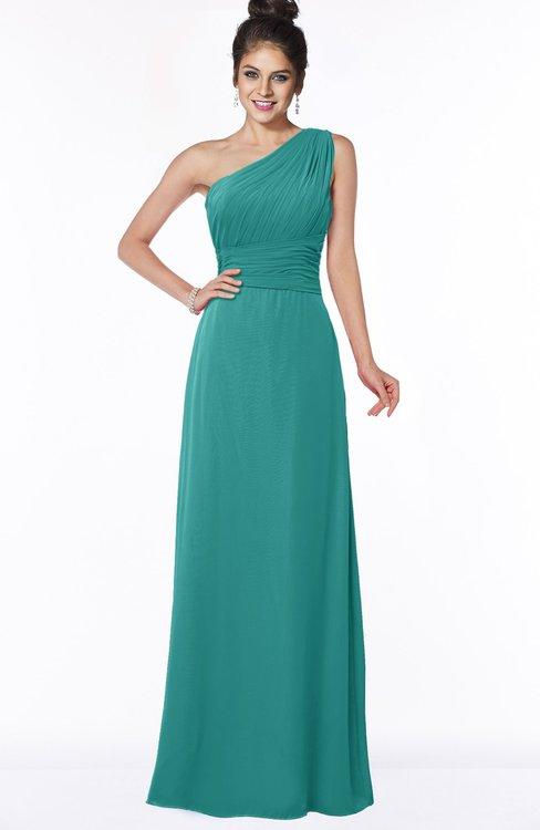 ColsBM Adalyn Emerald Green Mature Sheath Sleeveless Half Backless Chiffon Ruching Bridesmaid Dresses