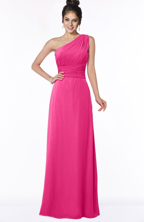 ColsBM Adalyn Fandango Pink Mature Sheath Sleeveless Half Backless Chiffon Ruching Bridesmaid Dresses