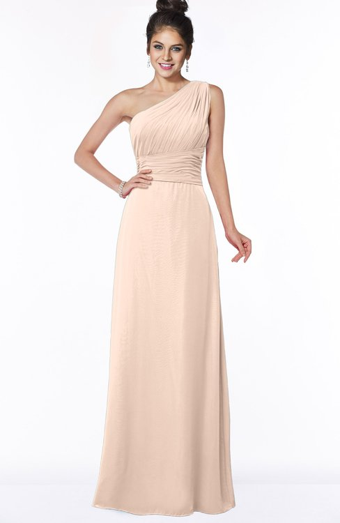 ColsBM Adalyn Fresh Salmon Mature Sheath Sleeveless Half Backless Chiffon Ruching Bridesmaid Dresses