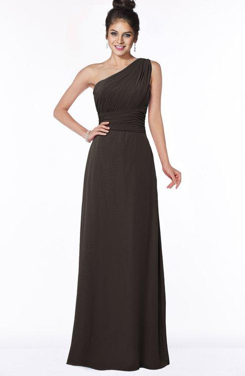 ColsBM Adalyn Fudge Brown Mature Sheath Sleeveless Half Backless Chiffon Ruching Bridesmaid Dresses
