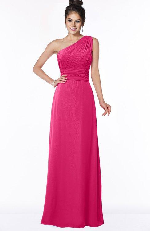 ColsBM Adalyn Fuschia Mature Sheath Sleeveless Half Backless Chiffon Ruching Bridesmaid Dresses