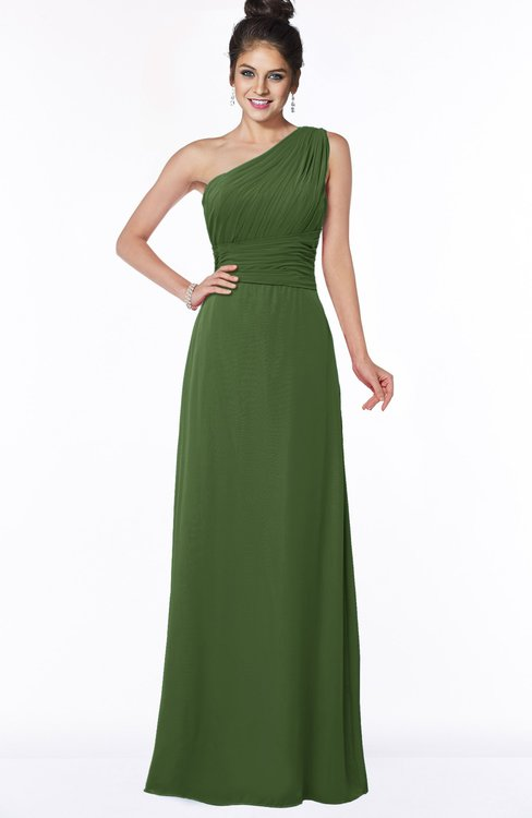 ColsBM Adalyn Garden Green Mature Sheath Sleeveless Half Backless Chiffon Ruching Bridesmaid Dresses