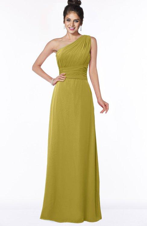 ColsBM Adalyn Golden Olive Mature Sheath Sleeveless Half Backless Chiffon Ruching Bridesmaid Dresses